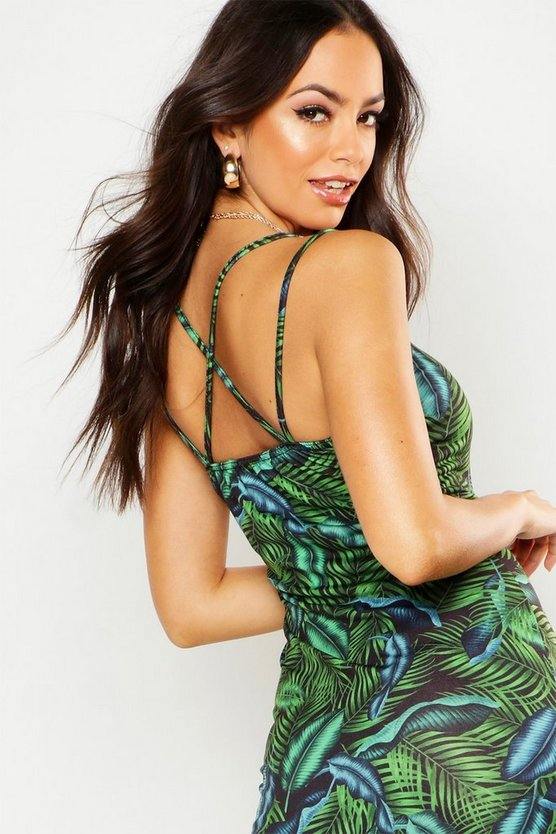Womens Green All Sizes Strappy Maxi Dress