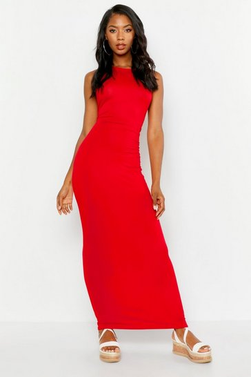 Womens Red Basic Racer Front Maxi Dress