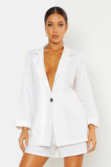 Womens Ecru Oversized Linen Look Blazer