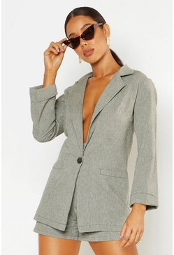 Womens Olive Oversized Linen Look Blazer