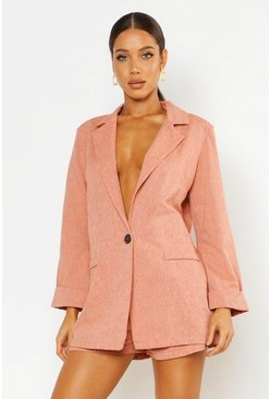 Womens Terracotta Oversized Linen Look Blazer
