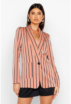 Womens Blush Stripe Tailored Blazer