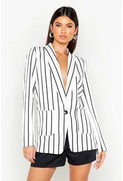 Womens White Stripe Tailored Blazer
