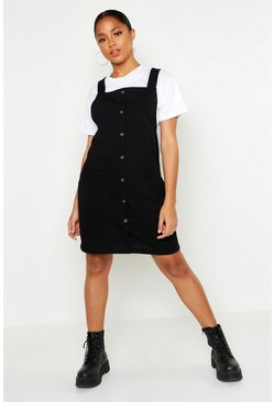 Womens Black Button Detail Woven Pinafore