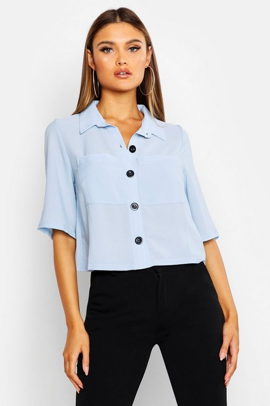 Button Down Pocket Front Boxy Blouse by Boohoo