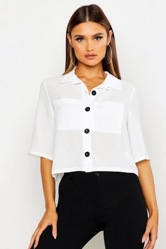 White Button Down Pocket Front Boxy Blouse