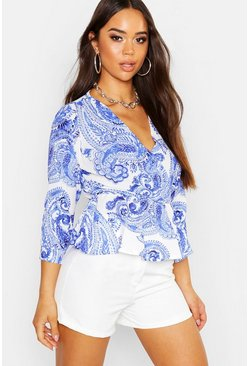 Womens Blue Woven Printed Wrap Peplum Blouse