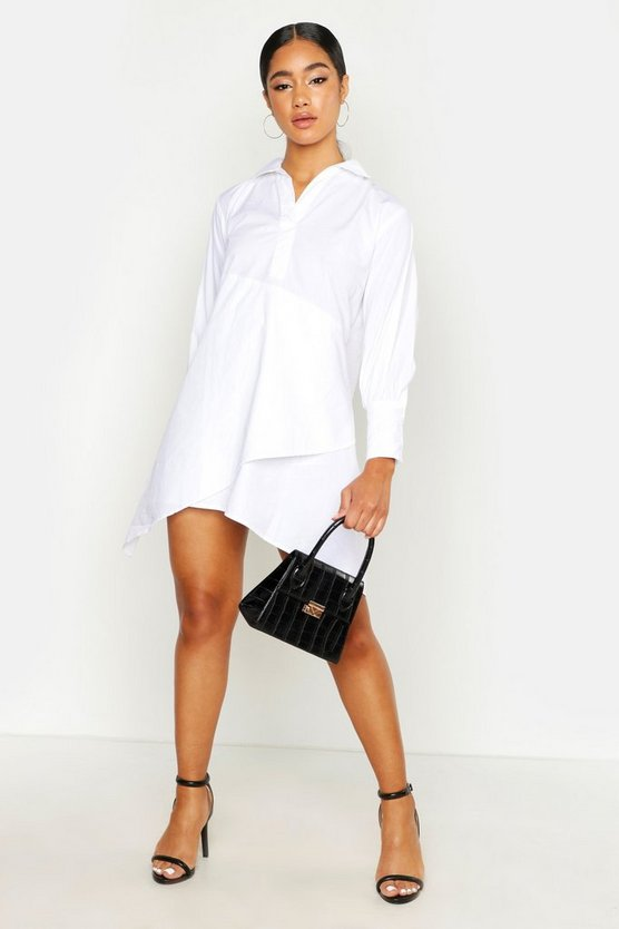 Womens White V Neck Shirt Dress