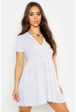 Womens White Pinstripe V Neck Smock Dress