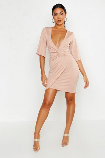 Womens Stone O-Ring Wrap Mini Dress