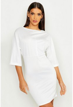 Womens Ivory Batwing Turn Up Cuff Midi Dress