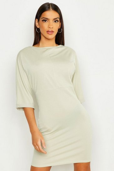 Womens Sage Batwing Turn Up Cuff Midi Dress