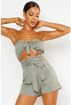 Womens Olive Tie Front Linen Look Bandeau Crop Top