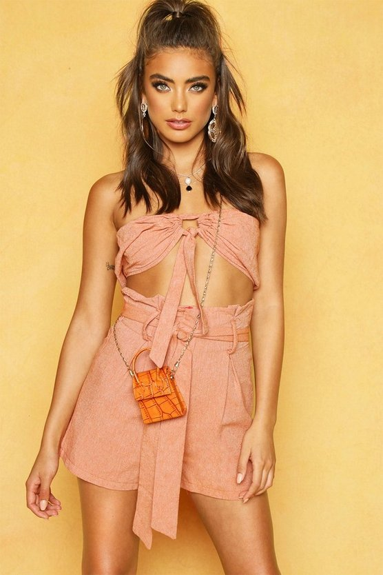 Womens Terracotta Tie Front Linen Look Bandeau Crop Top