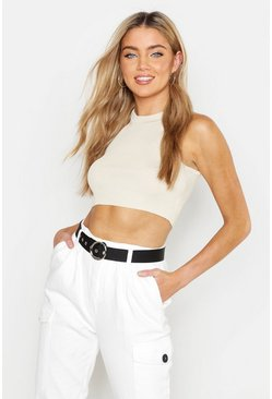 Stone Ribbed Tapered Cropped Vest