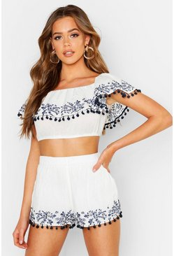White Embroidered Pom Pom Bardot Top