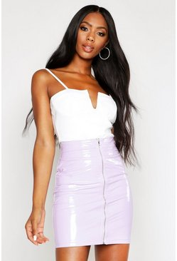 Lilac PU Zip Back Skirt