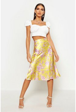 Womens Yellow Floral Satin Bias Cut Midi Skirt