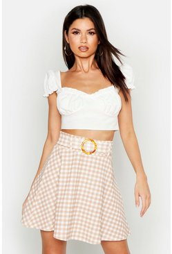 Womens Nude Tonal Gingham Check Horn O Ring Skater Skirt