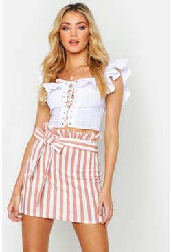 Womens Rose Tonal Stripe Belted Paperbag Skirt