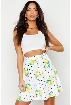Womens Ivory Polka Dot Lemon Flippy Skirt