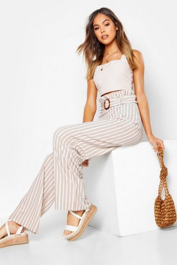 Womens Stone Paperbag Waist Tonal Stripe Wide Leg Trousers