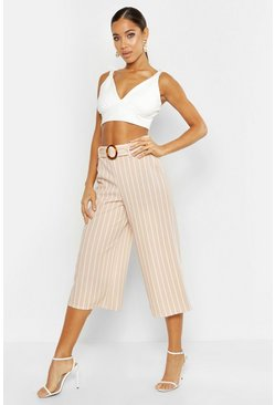 Womens Sand Tonal Stripe Belted Wide Leg Culottes