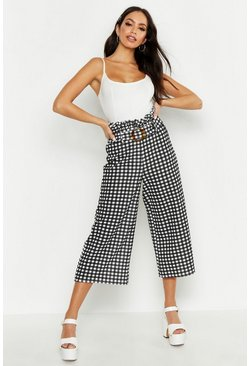 Womens Black Tonal Gingham Check Paperbag Culottes