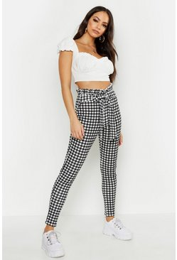 Womens Black Paperbag Waist Gingham Check Pants