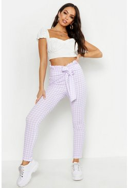 Womens Lilac Paperbag Waist Gingham Check Trousers