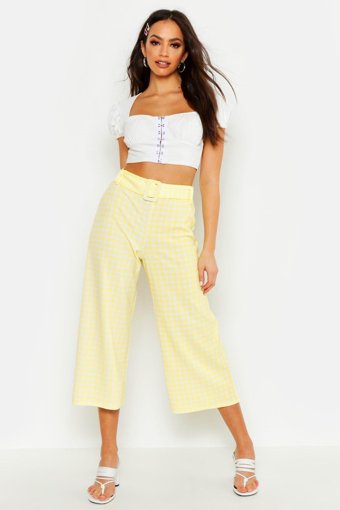1950s Pants & Jeans- High Waist, Wide Leg, Capri, Pedal Pushers Belted Gingham Check Culottes  AT vintagedancer.com