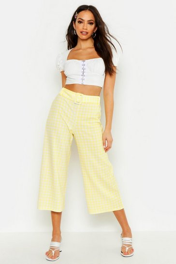 Womens Yellow Belted Gingham Check Culottes