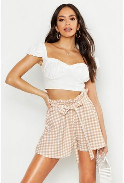 Womens Nude Gingham Paperbag Waist Short