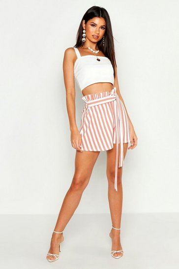 Womens Rose Tonal Stripe Paperbag Waist Short