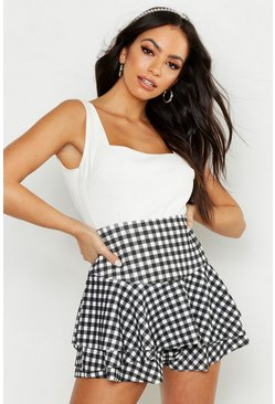 Womens Black Gingham Ruffle Skort
