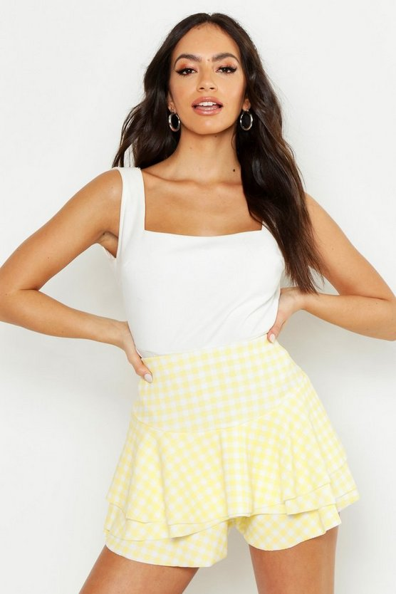Womens Yellow Gingham Ruffle Skort
