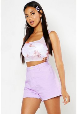 Womens Lilac High Rise Frayed Hem Mom Shorts
