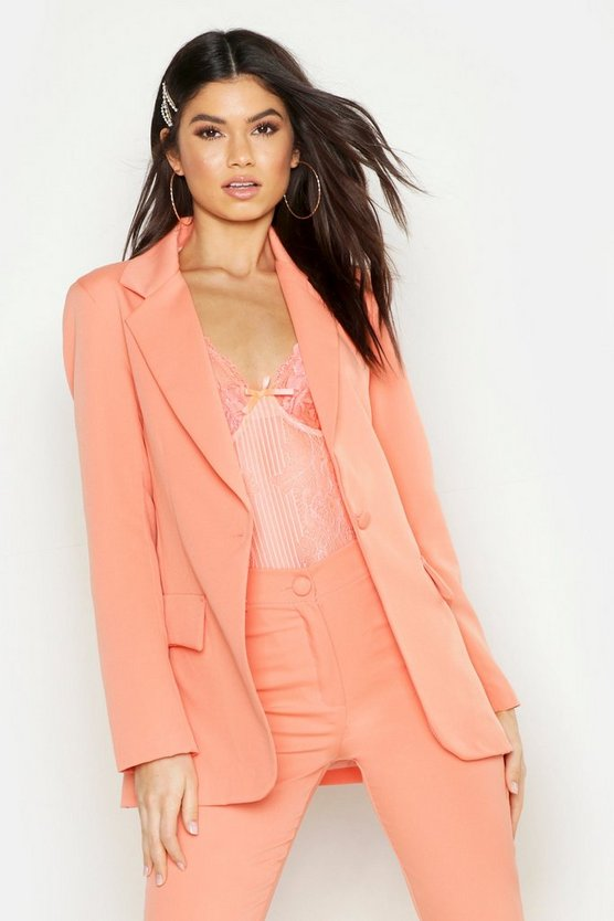 Womens Coral Single Breasted Tailored Blazer