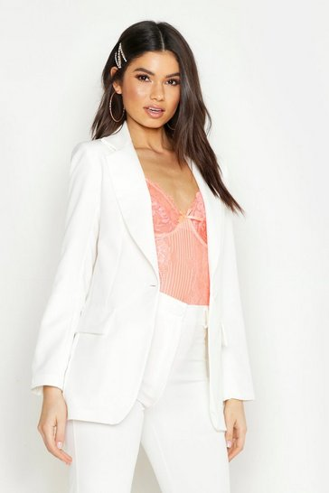 Womens Ivory Single Breasted Tailored Blazer