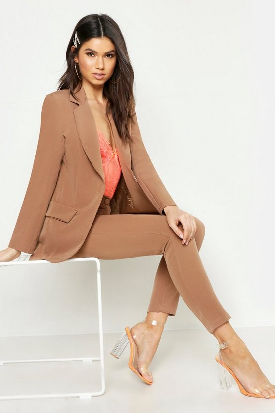 Womens Tobacco Single Breasted Tailored Blazer