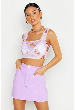 Womens Lilac Denim Frayed Hem Mini Skirt