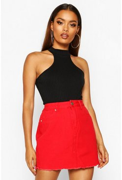 Womens Red Denim Frayed Hem Mini Skirt