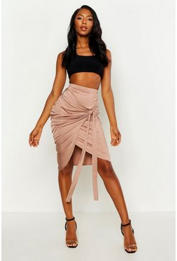 Nude Slinky Wrap Tie Ruched Midi Skirt