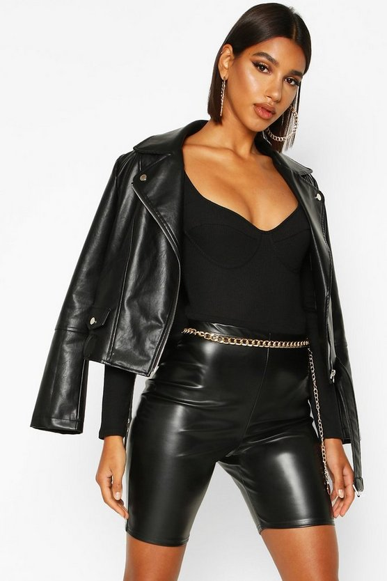 Black The Leather Look Cycling Short