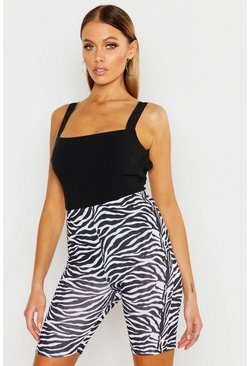 Womens Black The Zebra Cycling Short
