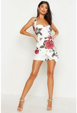Womens White Floral Wrap Short