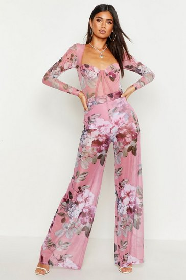 Womens Blush Floral Mesh Wide Leg Trouser