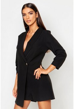 Black Tailored Woven Blazer Playsuit