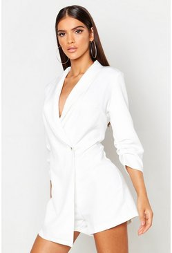 White Tailored Woven Blazer Playsuit