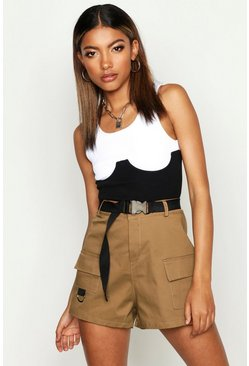 Womens Camel Cargo Belted Twill Short